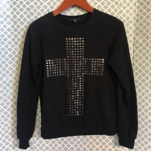Xxi studded stud cross black sweatshirt